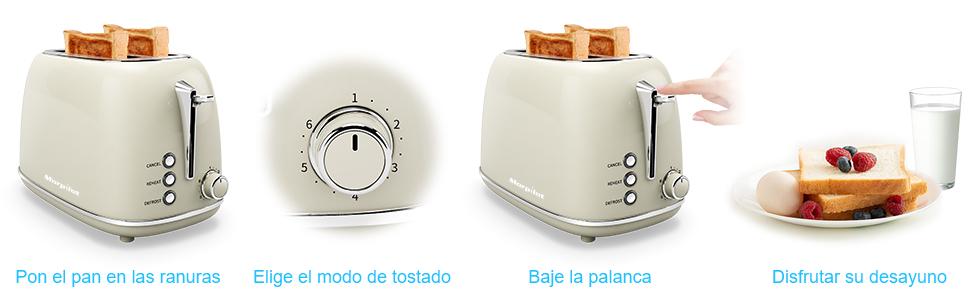 Tostadora, Morpilot Tostadora Pan de 2 Rebanadas con 6 ...