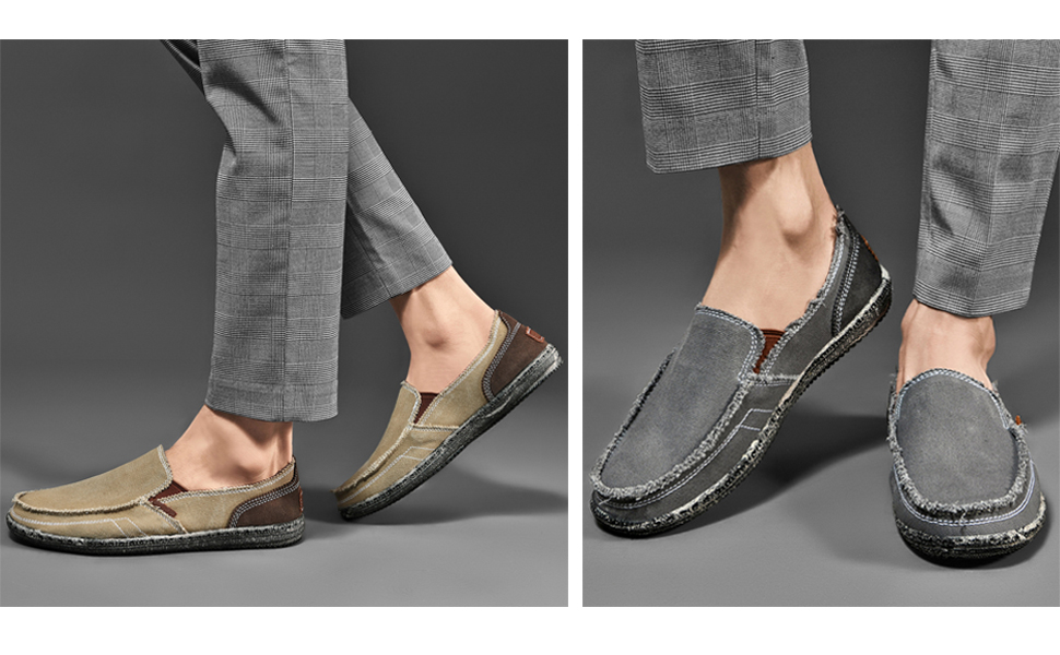 Mens Canvas Slip on Shoes Loafers