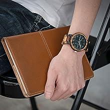 Bewell 腕時計 木製 メンズ 曜日 日付き アナログ腕時計 日本製クオーツ 天然木 ウッドウォッチ 贈り物 誕生日ギフト