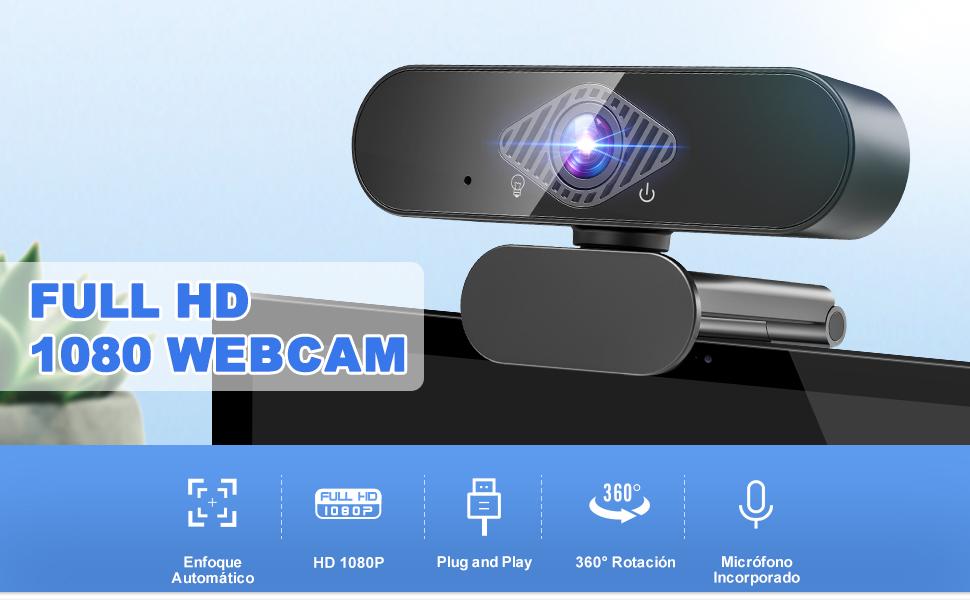Teaisiy Webcam PC, Webcam con Micrófono Portátil 1080P HD