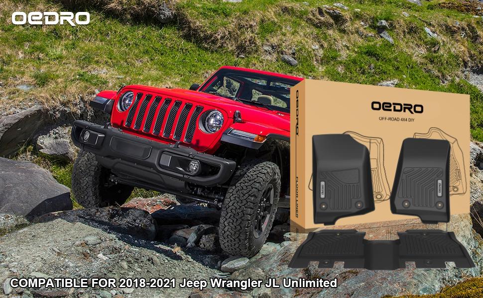 oEdRo Floor Mats Compatible for 2018-2021 Jeep Wrangler JL 4-Door