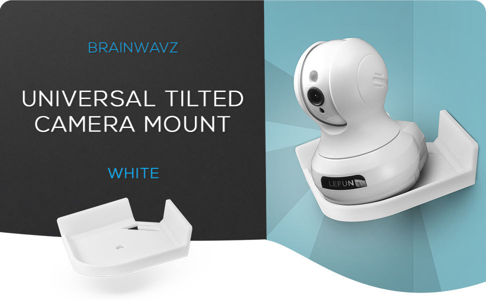 Drill Free Universal Corner Baby Monitor & Security Camera Wall Mount Shelf, Tilted Optimal Viewing