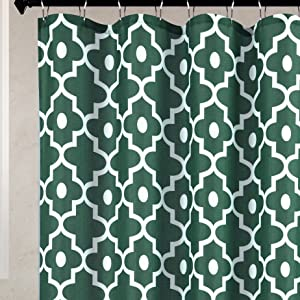 Biscaynebay Textured Fabric Shower Curtains, Morocco Pearl Printed Bathroom Curtains