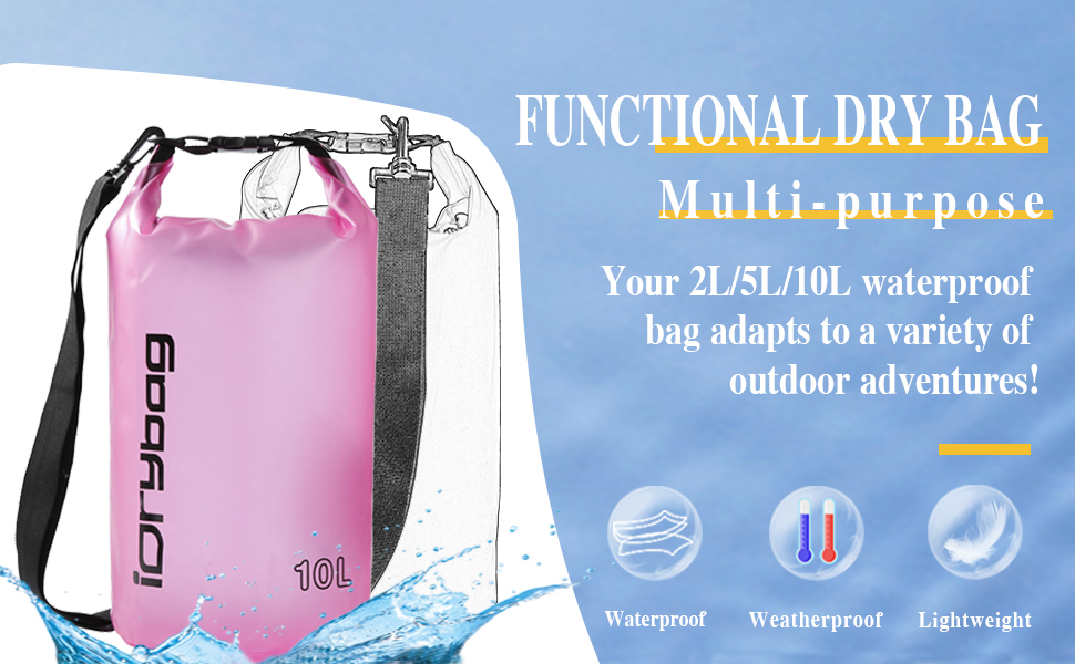 Lightweight DrysackDrybagCanoe Bagkayak Waterproof Storage 2 Litre.