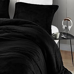 black Cozy Bedding Blanket Twin XL Full Queen King Stylish Duvet Cover Set