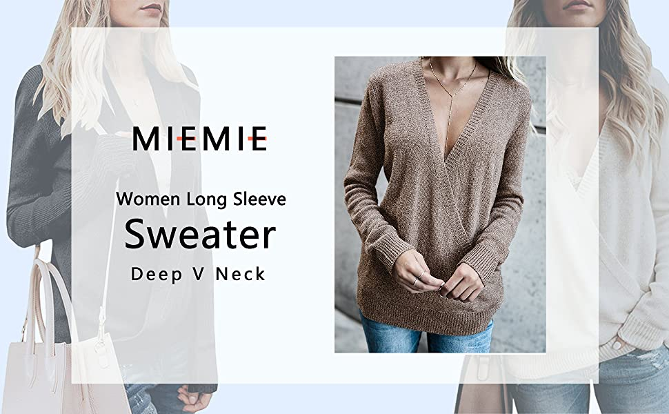 womens long sleeve sweaters fall deep v neck sexy thin tops wrap front loose knit pullover sweaters