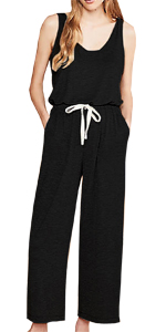 sleeveless drawstring long jumpsuit