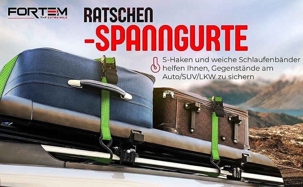 bis 680 Kg rei/ßfest 4 x 4,5m Befestigungsriemen Ohuhu Ratschen Spanngurte f/ür Schwerlast 4 x Spanngurte