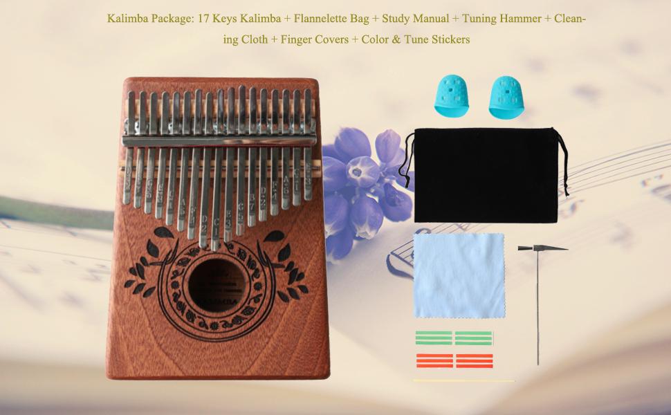 Kalimba Thumb Piano 17 Keys with Study Instruction and Tune Hammer
