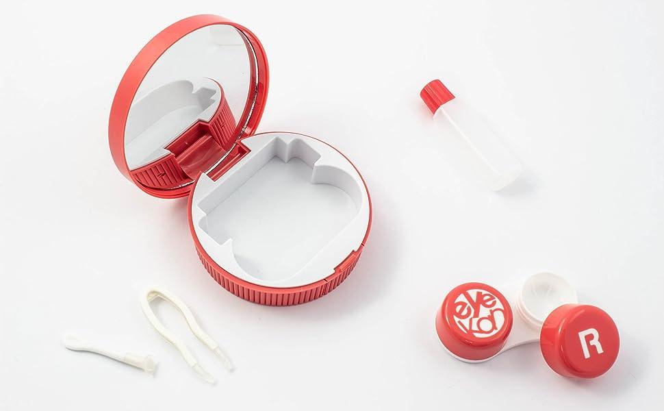 Caja de Lentes de Contacto Kit de Viaje SFY Estuche Lentillas con Pinza Aplicador Pala Botella de Solución Espejo Incorporado (CL03-4 Rojo): Amazon.es: Salud y cuidado personal