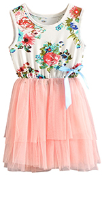 Girls Floral Princess Dress Tulle Tutu Sundress
