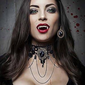7 pc Antique Vintage look Vampire Teeth lot pendant craft punk jewelry