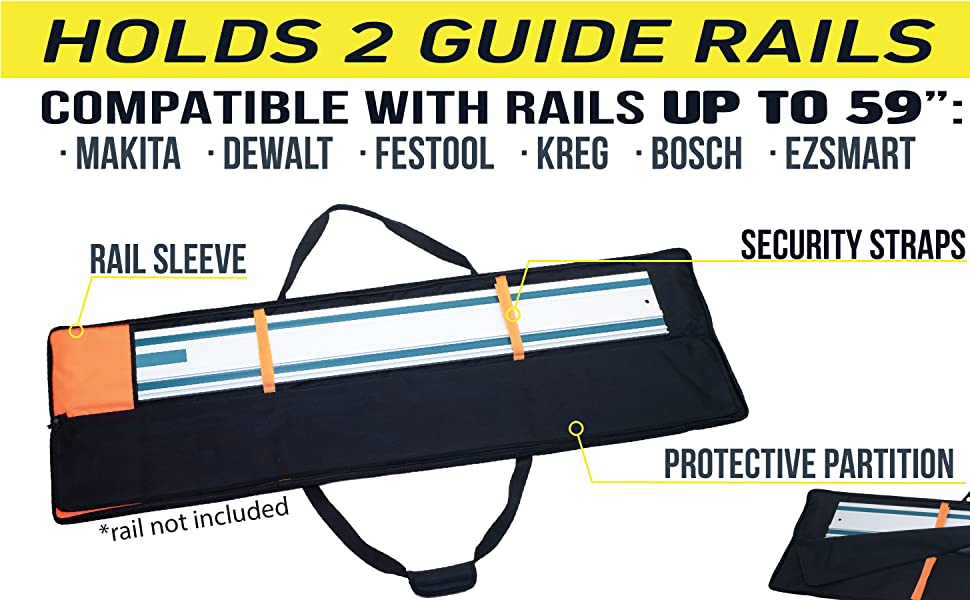 Rugged Tools Long Black Bag with Orange Accents to carry guide rails for track system saw guide