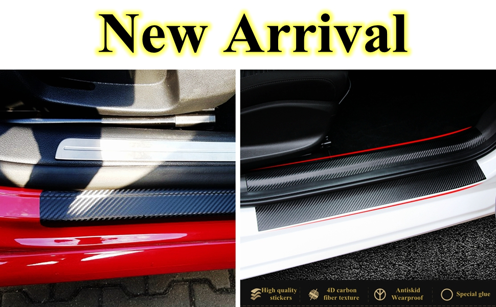 Car Door Sill Protector Strips,Scuff Guard Threshold Cover Pedal,for TRD,Carbon Fiber Kick Plates Non Slip Anti Scratch Accessories,4Pcs.