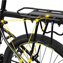 Iycorish Cyclisme VTT Alliage daluminium Bicyclette Porte-Bagages Arriere Porte-Bagages Etagere Support pour Frein a Disque//V Frein Velo Noir