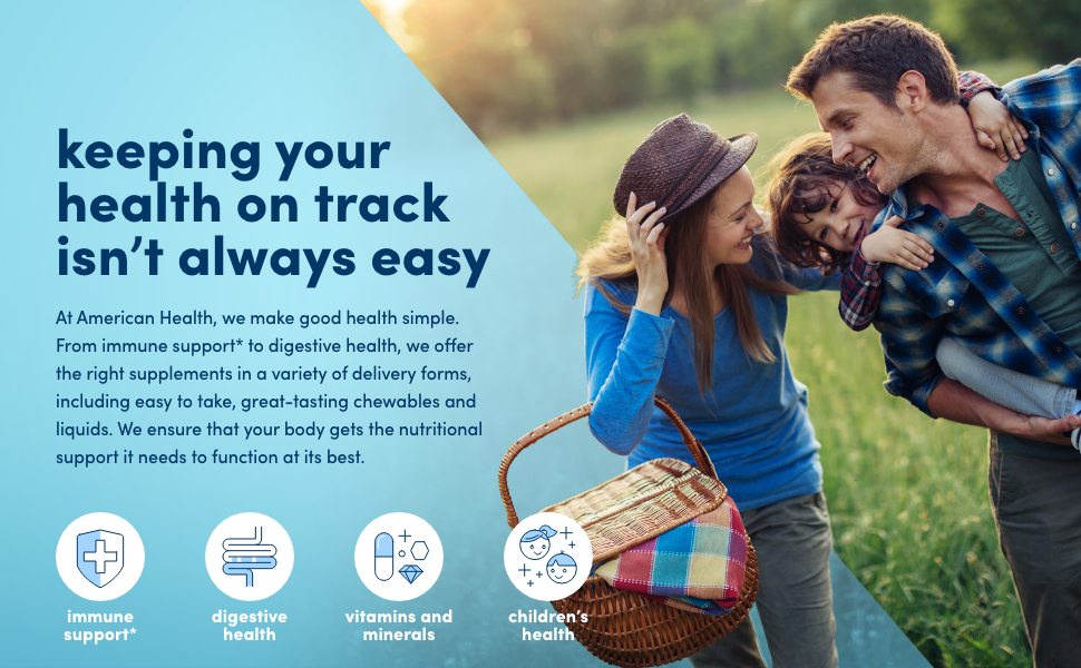 immune support, digestive health, vitamins and minerals, children's health, american health