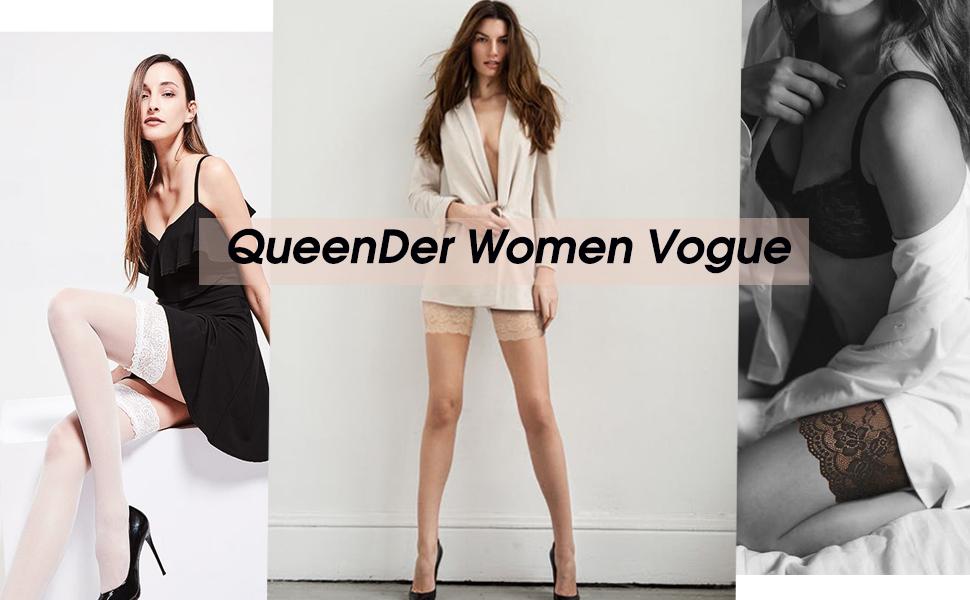 QueenDer Bandeaux de Cuisse Contre Anti Frottement Femme Bande Elastique Silicone Dentelle Socks