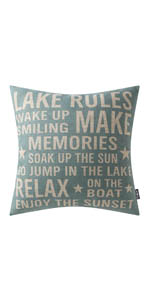 Trendin Lake Rules Pillow Cover, 18x18 inch