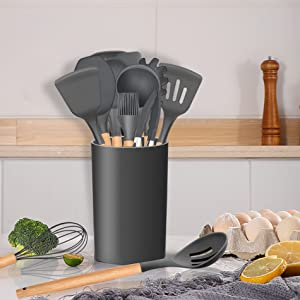 kitchen utensil set with holder