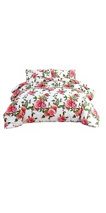 matching flat bed sheet floral pink roses garden romantic gift family lover home decor accent lovely
