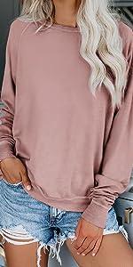 Long Sleeve Crewneck Sweatshirt Color Block Pullover Top