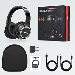 ANC headphones  Active Noise Cancelling Headphones, AIKELA Wireless Bluetooth Over Ear Headset with Deep Bass Hi-Fi Sound Soft Earbuds 30H Playtime Fast Charging ANC Headphone for Online Class Travel Home Office 3b7d23c9 f36d 4111 a280 386d529e801c