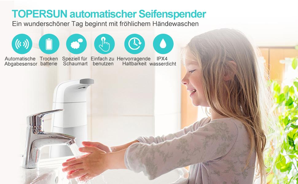TOPERSUN Seifenspender Berührungslose Automatisch Elektrischer Seifenspender ...