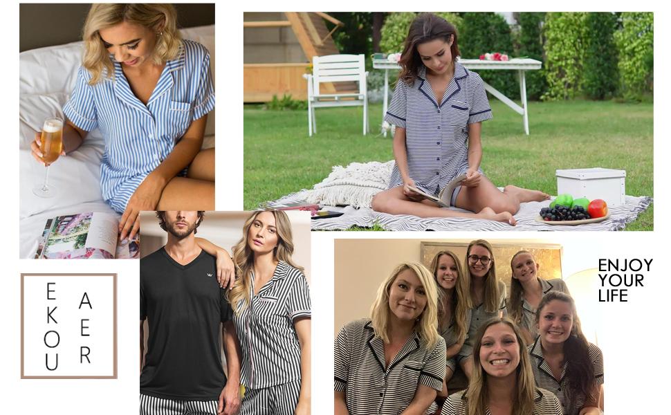 Womens Comfort Pajama Set Short-Sleeve with Long Pjs Pants Soft Sleepwear