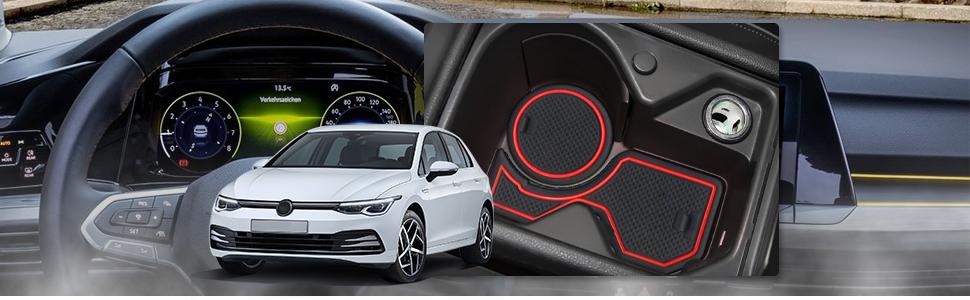 Ruiya Golf 8 Mk8 2020 Antirutschmatten Gummimatte Auto Innere Für Mittelkonsole Aus Hochwertigem Latex Geeignet Weiß Auto