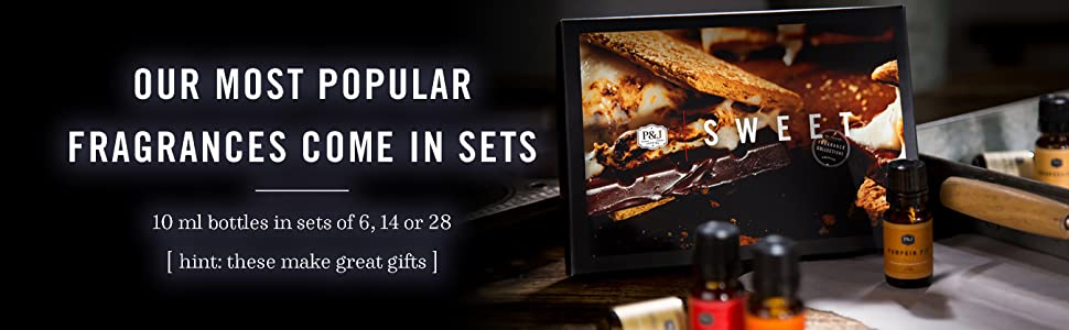 A box pictured with smores and chocolate which read Sweet Fragrance Oil on a silver pan.
