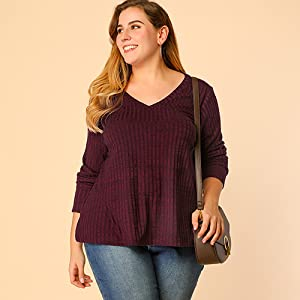 Agnes Orinda Women's Plus Size Tops Long Sleeve Loose Solid Casual Top