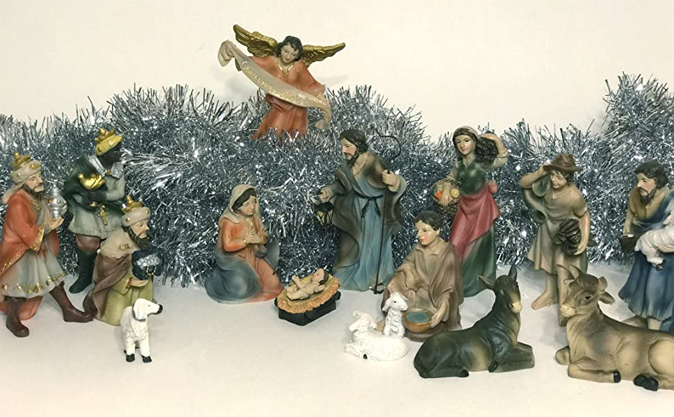 Christmas Nativity Set With Angel, 3 peasants, Wise Men, Kings, animals and other Navidad figurines