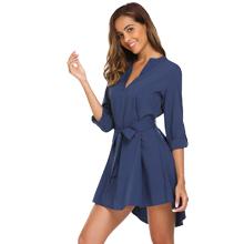 SE MIU Women Long Sleeve V Neck Casual Boyfriend Tunic T-Shirt Blouse Dress with Belt