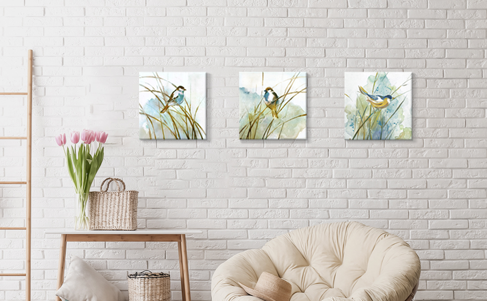 Abstract Birds Painting Wall Art