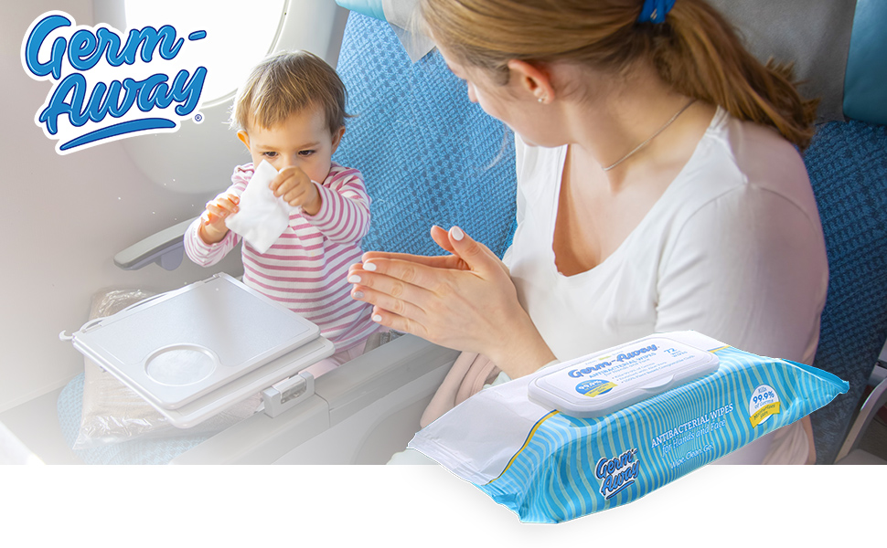 Germ-away wipes travel airline tray table mother baby
