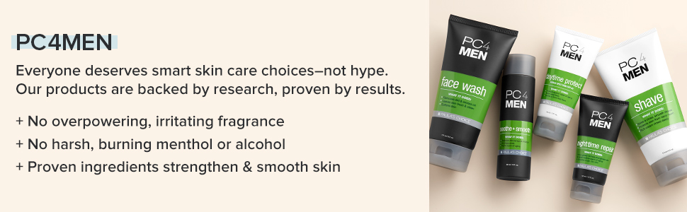 Paula's Choice PC4Men Skin Care Collection features fragrance free grooming solutions for men.