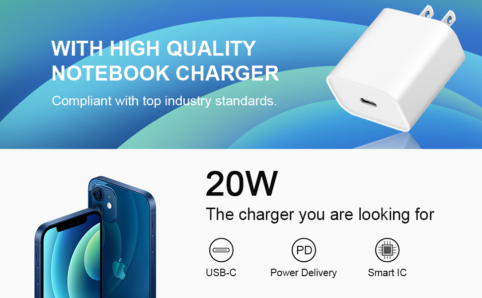 20W USB C wall charger for iPhone 12