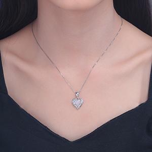 heart opal pendant necklace for women girls
