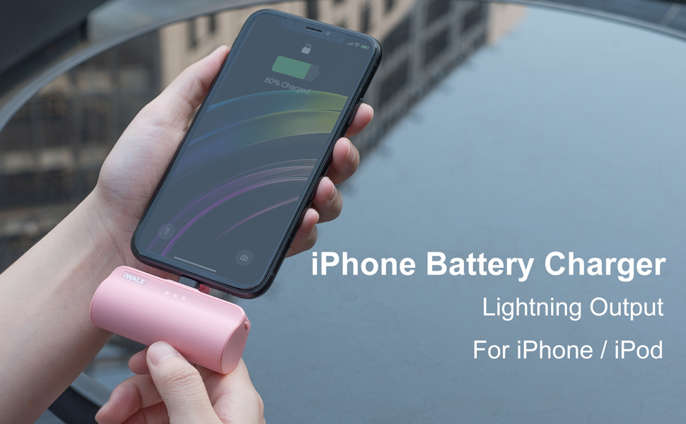 portable charger pink small