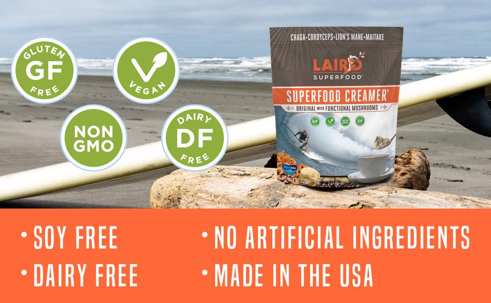 Laird Superfood Original Creamer with Perfomance Mushrooms -  Vegan Dairy Free GF Non-GMO Soy Free