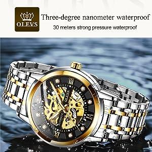 waterproof design 30 meter olevs luxury watch men