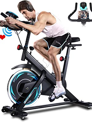 Ancheer Bicicleta de Spinning Bicicleta Indoor de Volante de Inercia de 18kg Conecto con App Resistencia Ajustable y Monitor LCD para Ejercicio en el Hogar (Negro (Volante de inercia 18kg)): Amazon.es: Deportes