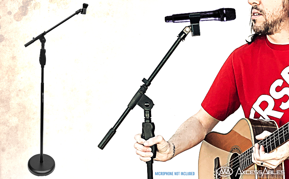 AxcessAbles MS-201RB Round Base Mic Stand w// Boom Quick Height Clutch /& Mic Clip