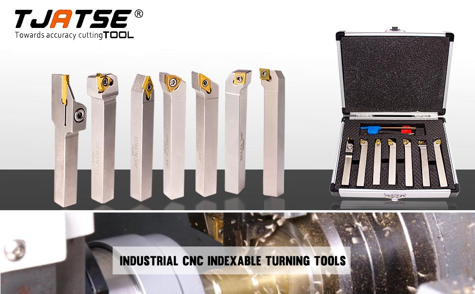 TJATSE CNC Indexable Lathe Turning Tool Holder 7 Pieces Heavy-Duty Carbide Nickel Plated Turning Holder Sets for Metal Turning Grooving Threading Cut Off 1//2 inch