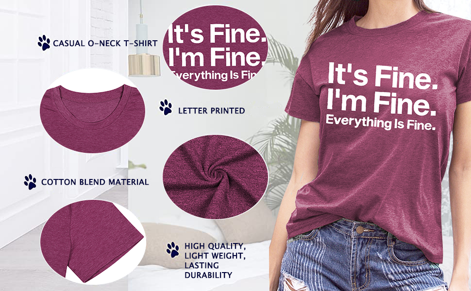 sleity women it's fine i'm fine everything is fine shirt cute sayings short sleeve graphic funny t
