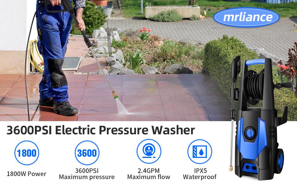 Pressure Washer Electric Power Washer mrliance 3600PSI Electric Pressure Washer 2.4GPM Power Washer