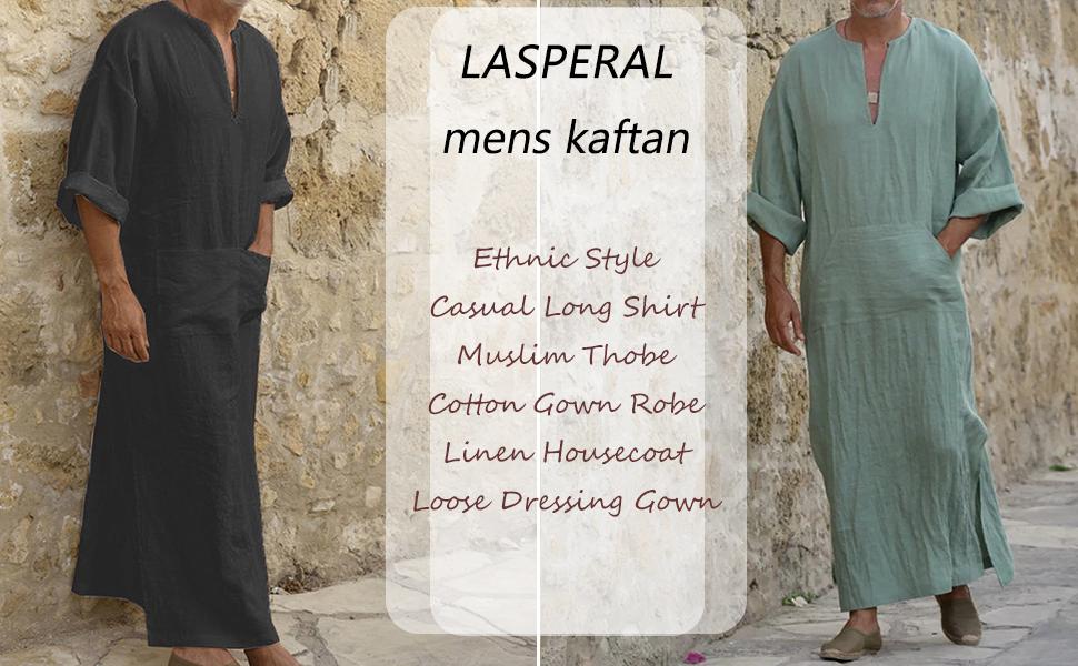 Mens Kaftan Hooded Robe Linen Loungewear V Neck Long Night Gown Shirt Thobe Mens Muslim Dresses