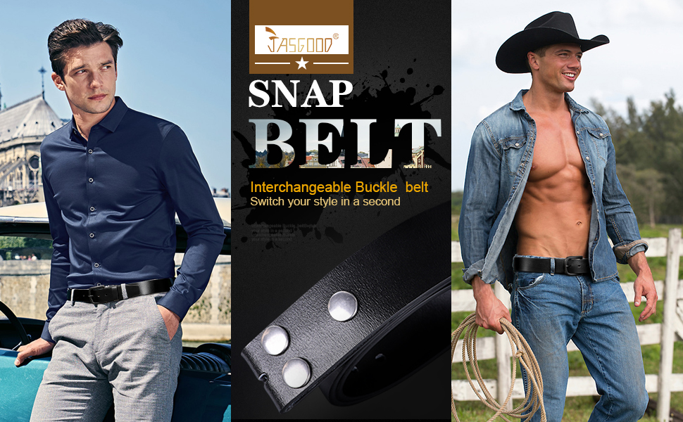 JASGOOD Mens Replacement Leather Belt, Vintage Leather Belt Strap with Snap on Buckle