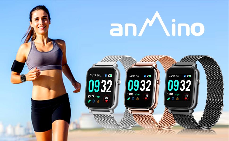 digital smart watch with steel wristband