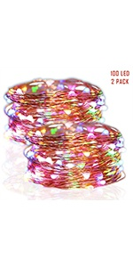 33 FT 100 LED Copper Wire String Lights, Multicolor, 2 Pack